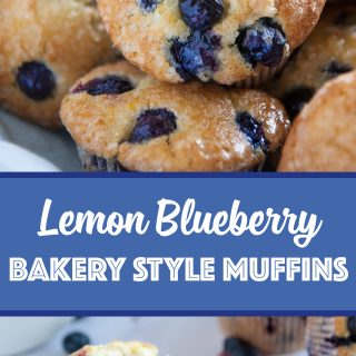 pinterest image for lemon blueberry muffin recipe