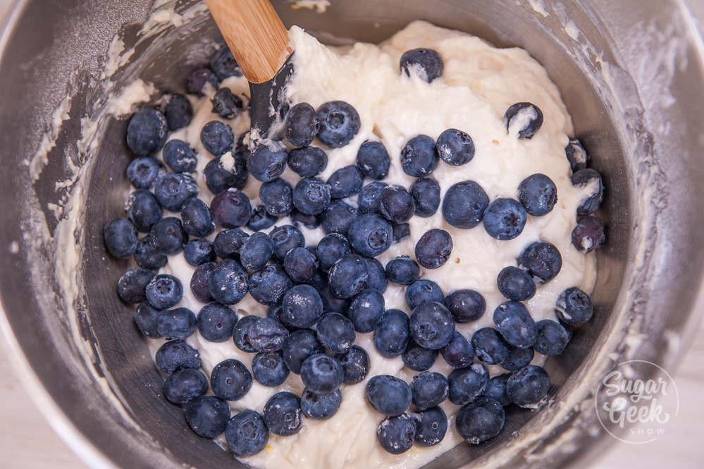 thick lemon blueberry muffin batter keeps blueberries from sinking to the bottom
