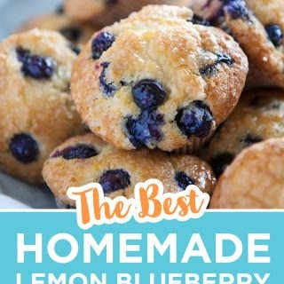 pinterest image for lemon blueberry muffins