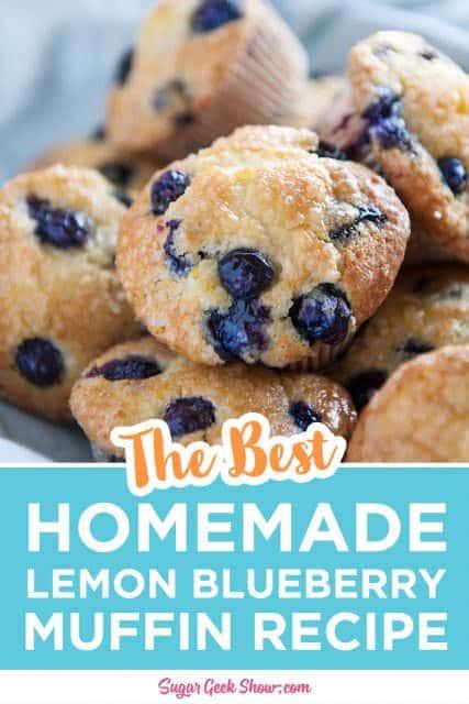 pinterest image for lemon blueberry muffins