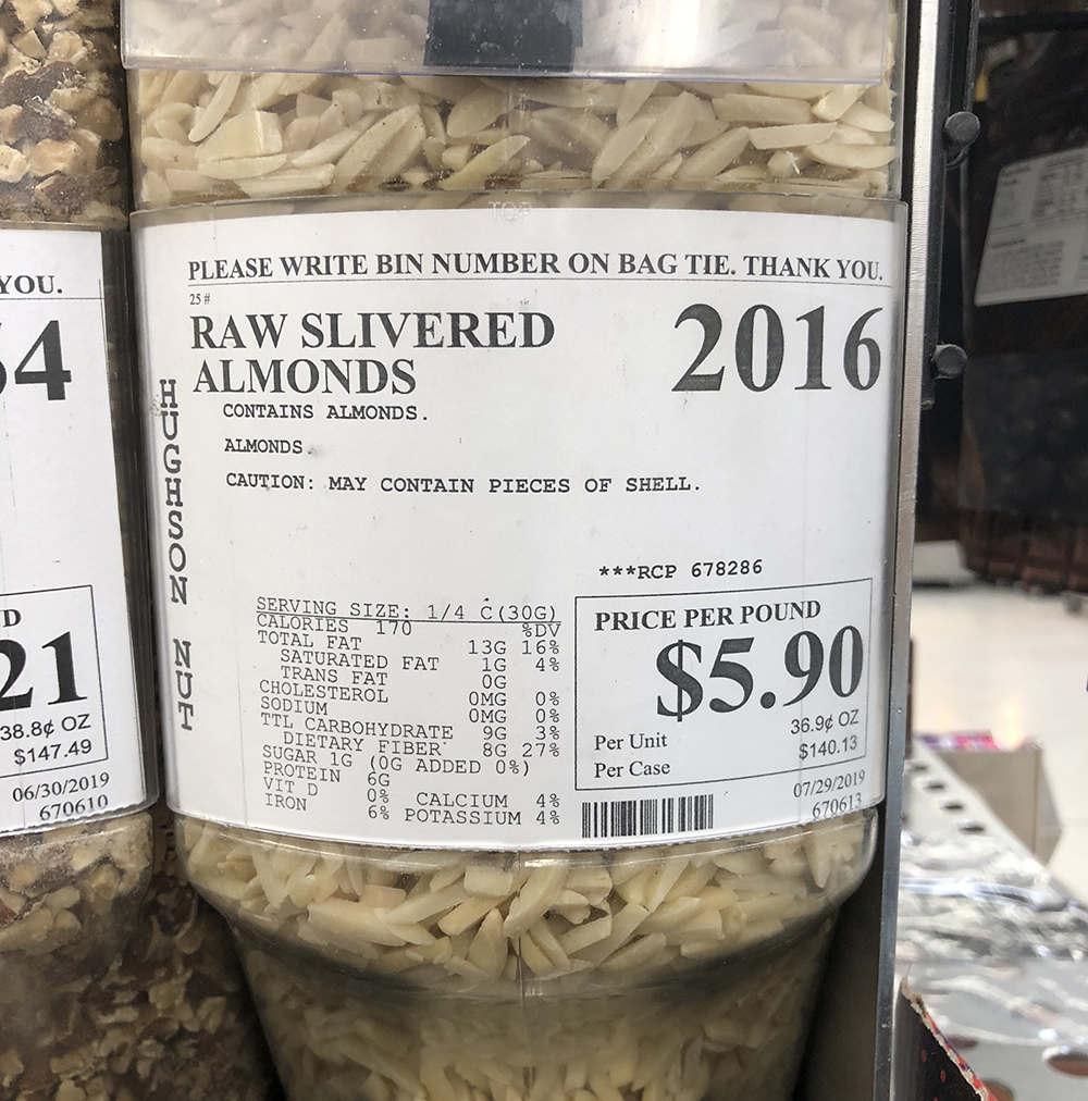 raw slivered almonds