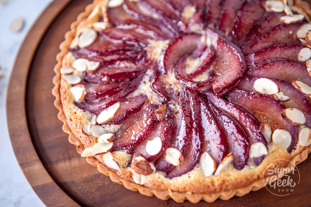red wine poached pear frangipane tart