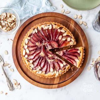 red wine pear frangipane tart