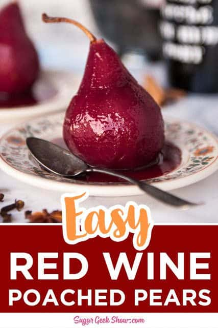 pinterest image for red wine poached pears