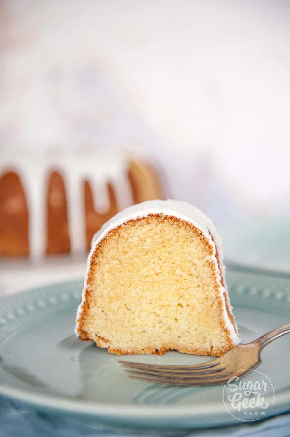 close up of moist vanilla bundt cake