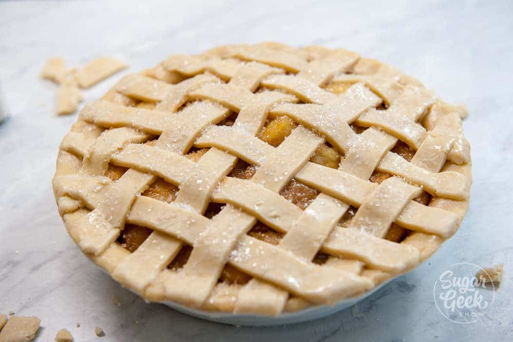 close up of apple pie with lattice