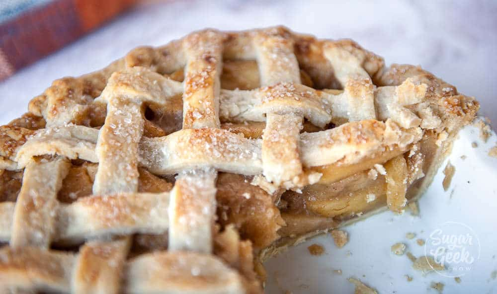 closeup of apple pie