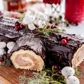 close up of buche de noel cake