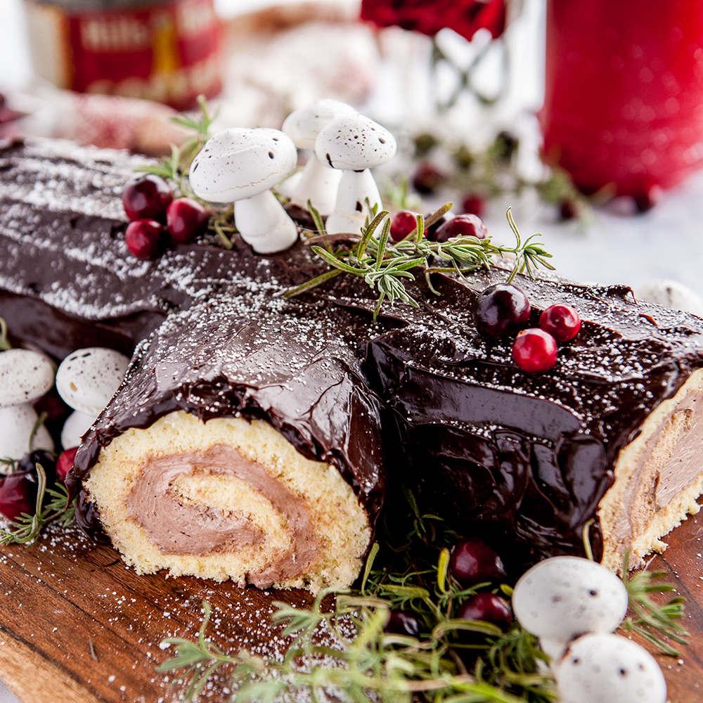 close up of buche de noel cake