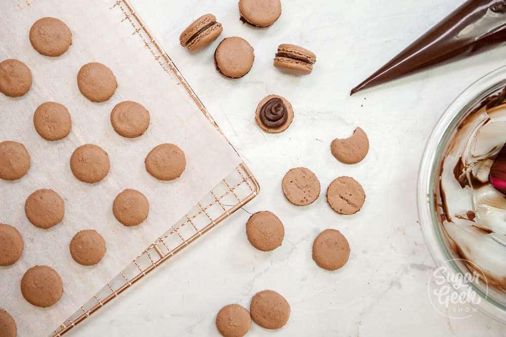filling chocolate macarons with chocolate ganache