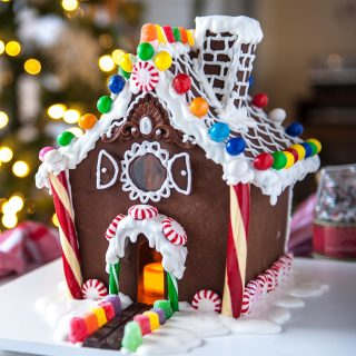 gingerbread house with a curved roof