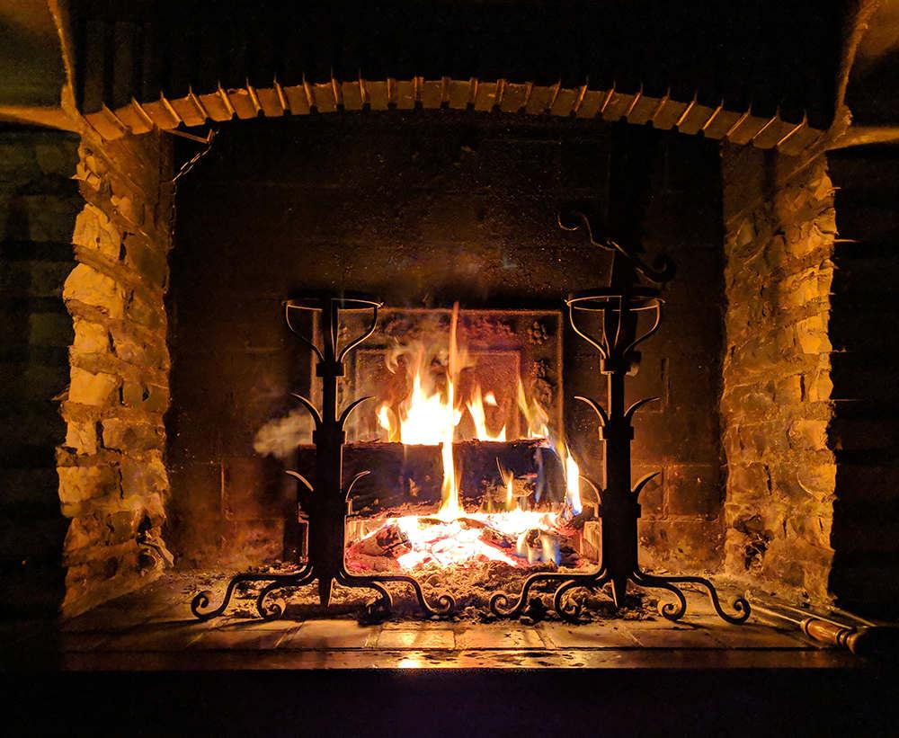 yule log in fireplace