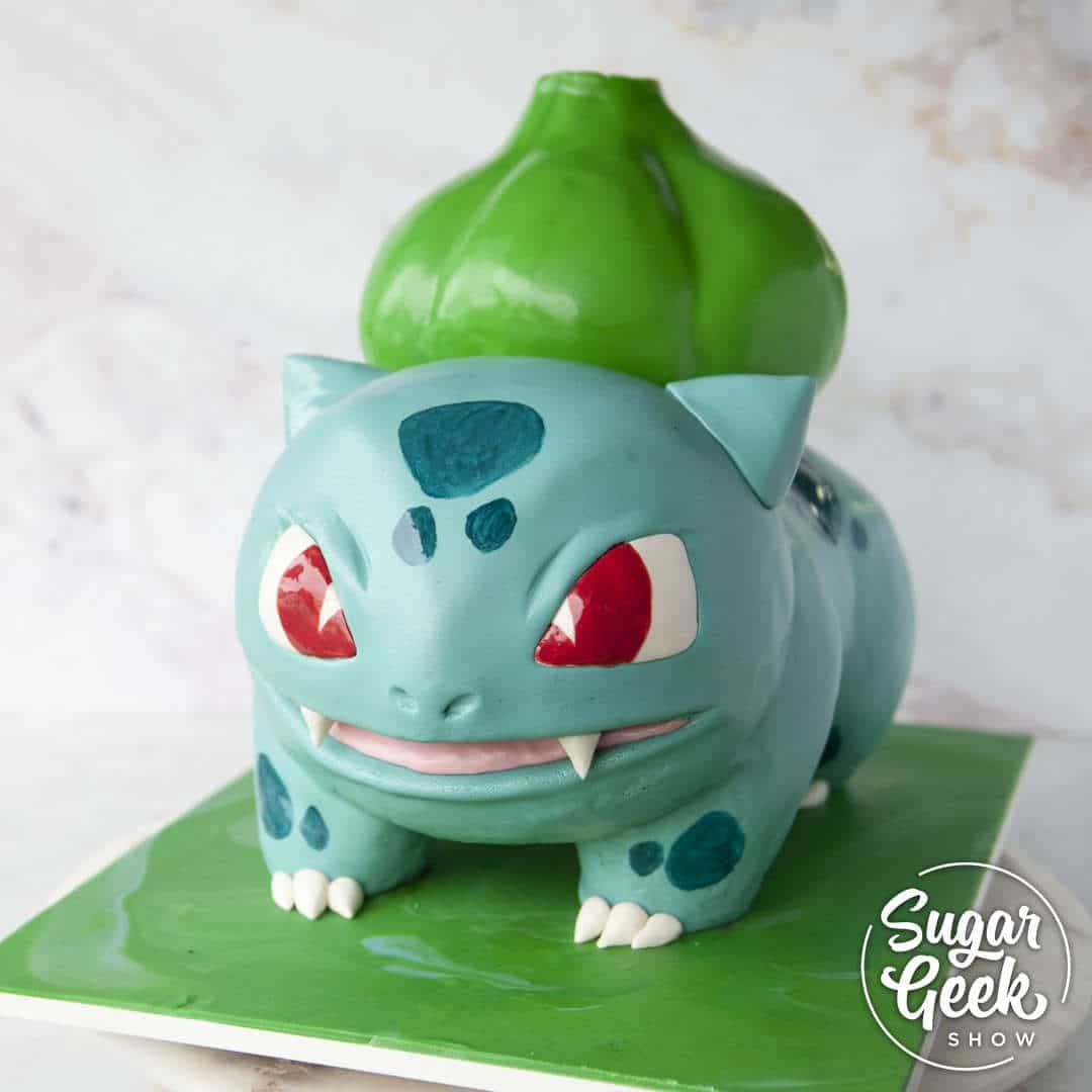 bulbasaur cake step-by-step tutorial, only on sugargeekshow.com