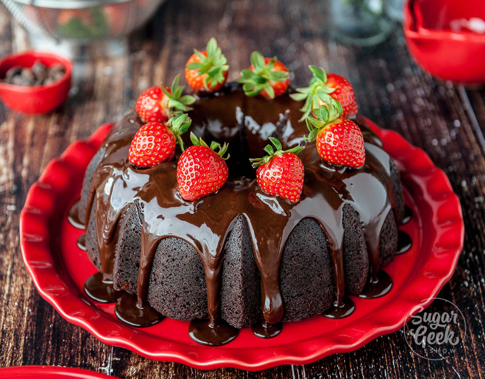 chocolate bundt cake with fresh strawberries