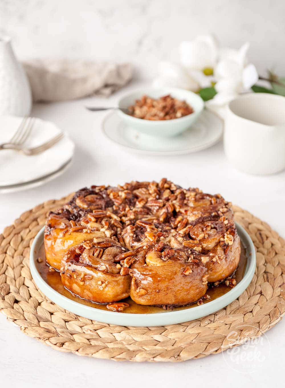 homemade sticky buns with pecans