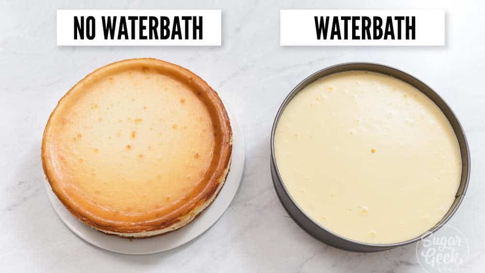comparing cheesecake baked in a waterbath and no waterbath. one has a browned surface and one does not