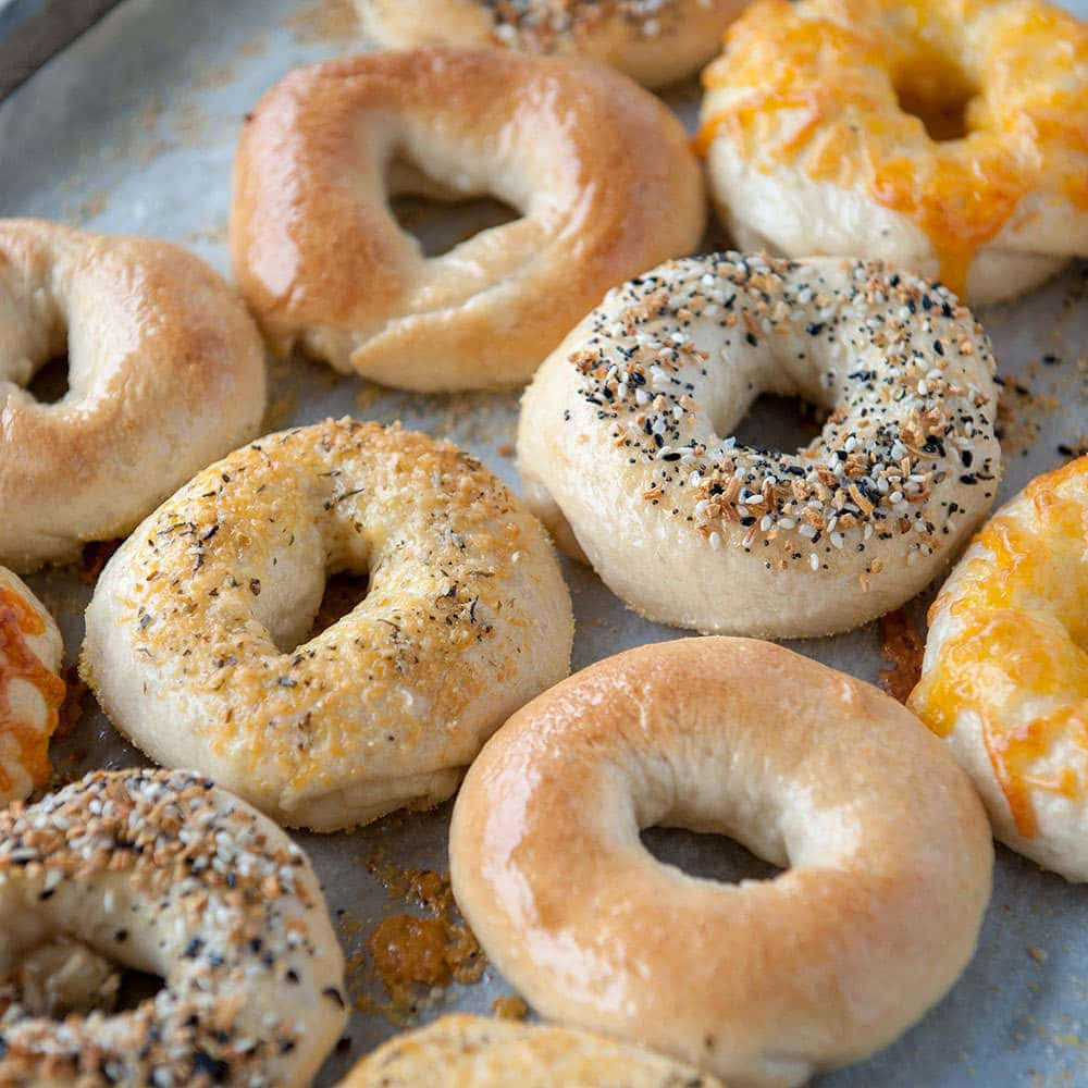 homemade bagels on a sheet pan