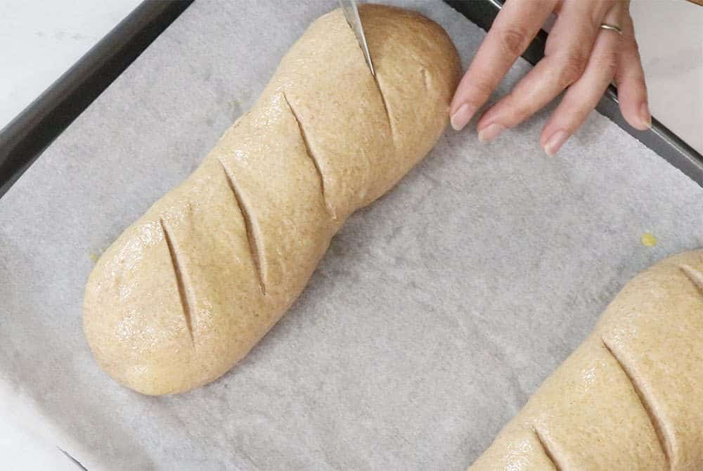 whole wheat bread loaf being egg washed and scored with a knife on a parchment lined baking sheet