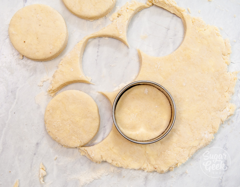 biscuit dough rolled out with round cutter cutting out biscuits shot from above