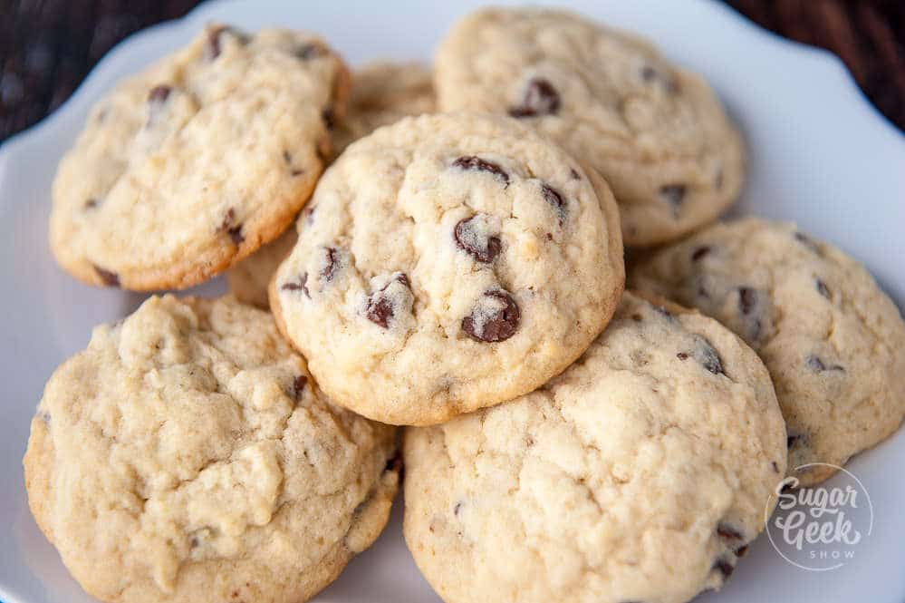 cakey chocolate chip cookies on a white plate