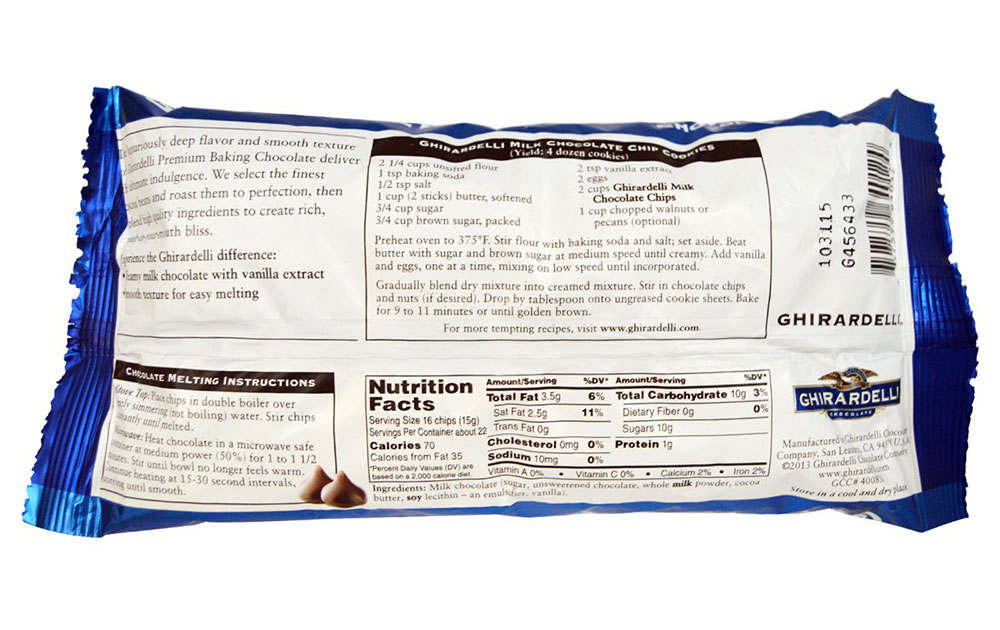 back of ghirardelli chocolate chip bag