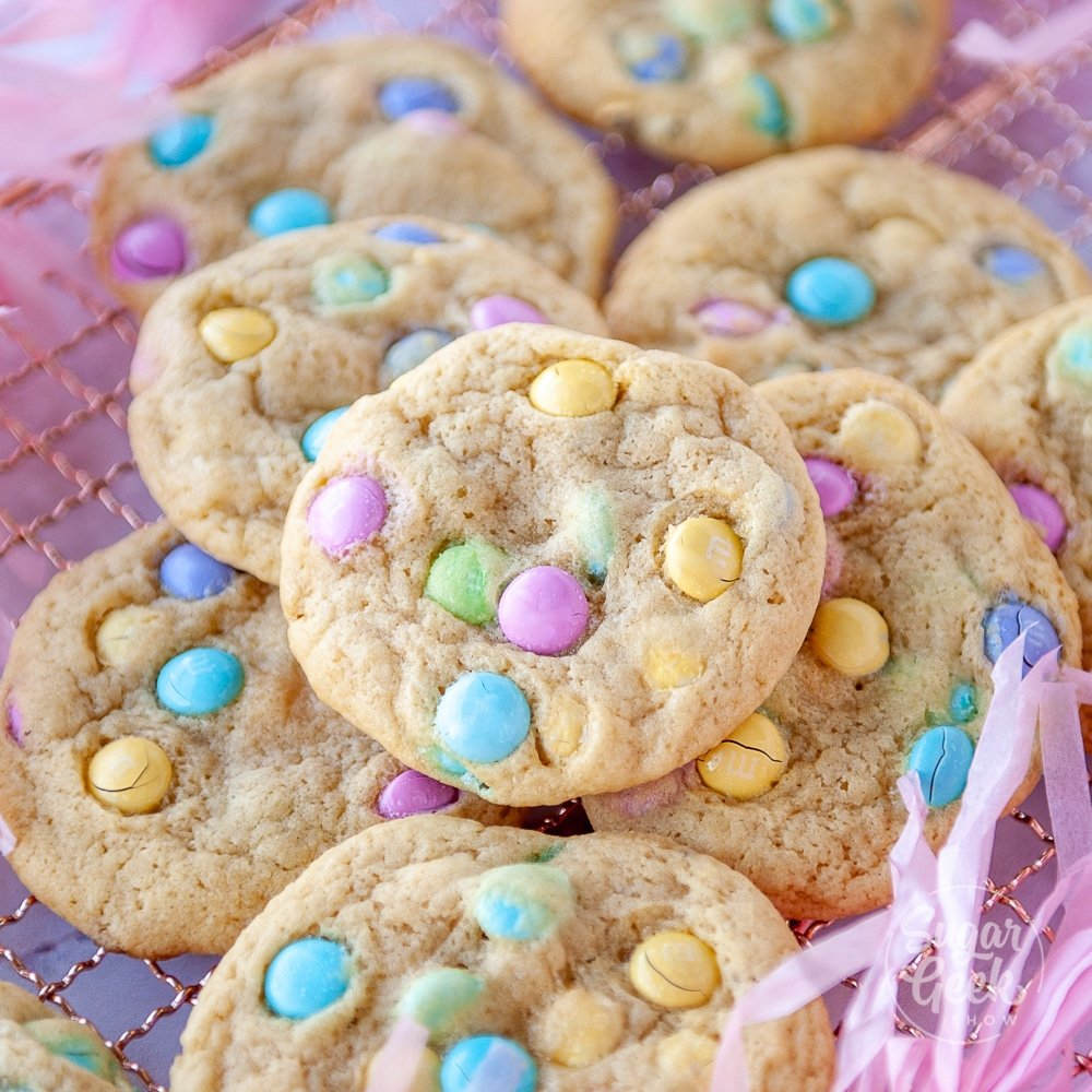 M&M cookies on cooling