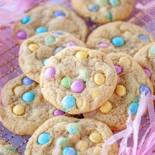 mm cookies piled on top of each other
