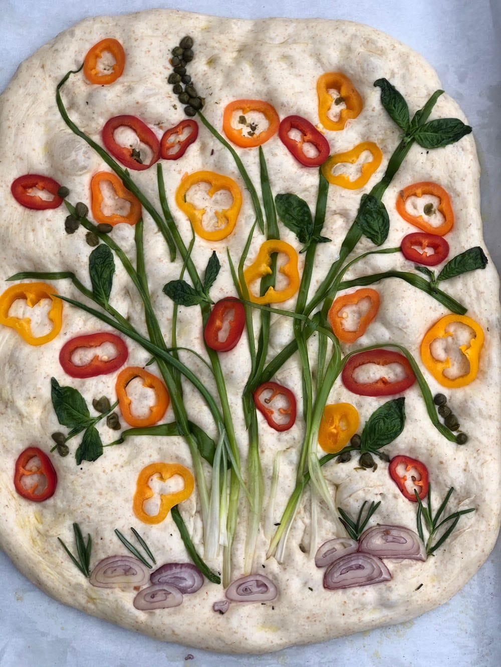 How To Make Focaccia Bread Art With Vegetables Herbs Sugar Geek Show