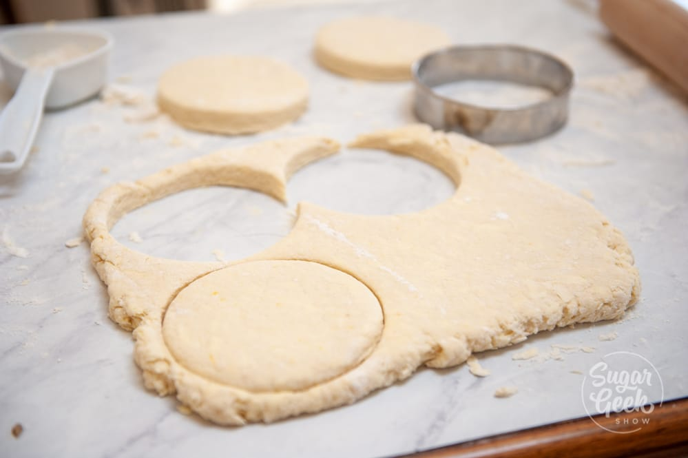 biscuits cut out of dough