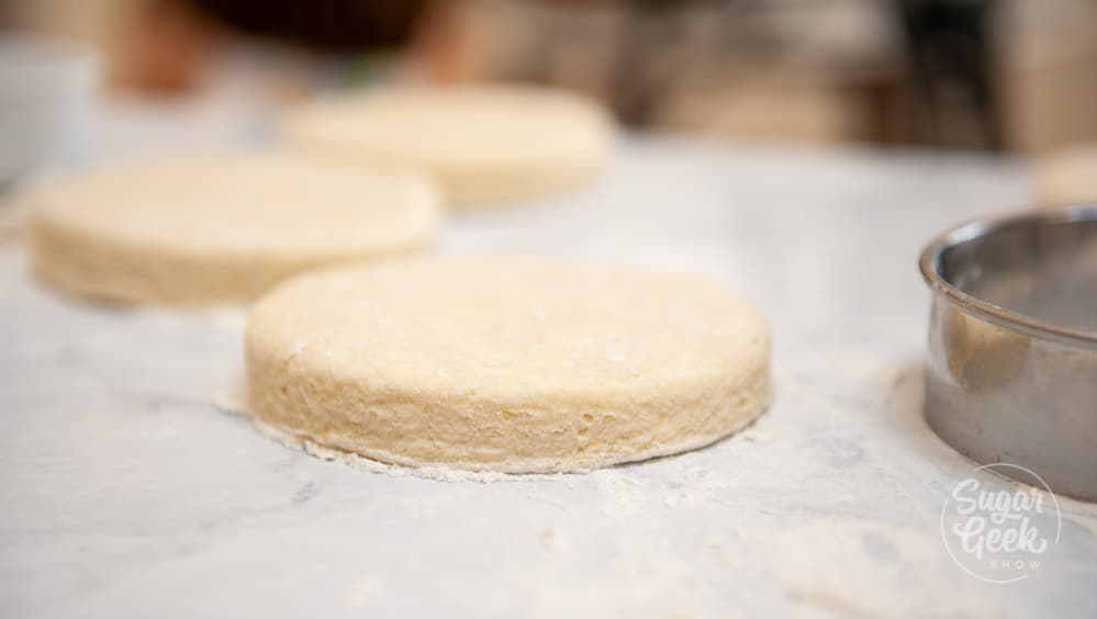 close up of raw biscuit to show layers