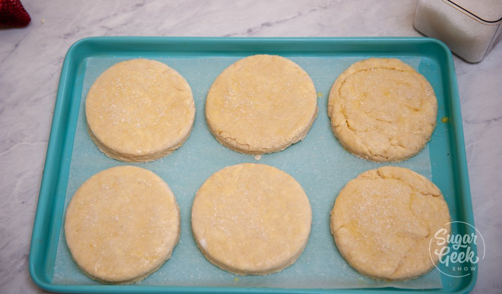 raw biscuits arranged on a cookie sheet with parchment paper