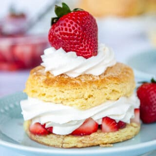 closeup of strawberry shortcake on blue plate