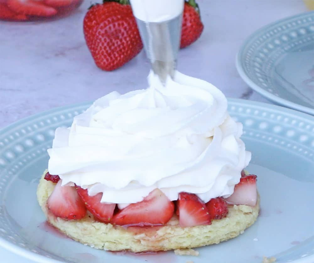 stabilized whipped cream being piped onto strawberries and sliced biscuit