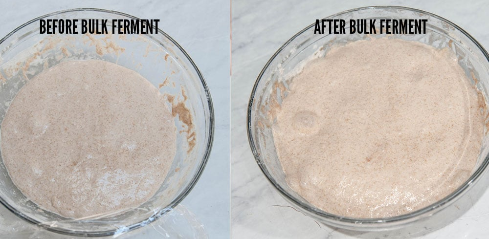 before and after photo of rising dough in clear bowl