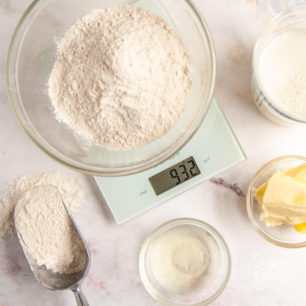 white digital kitchen scale on white background
