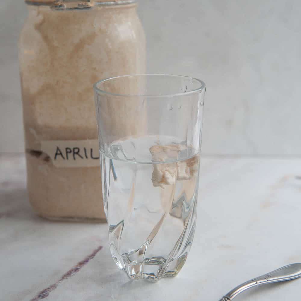 piece of levain floating in the water