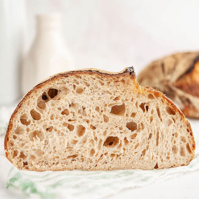 sourdough bread cut open to show crumb