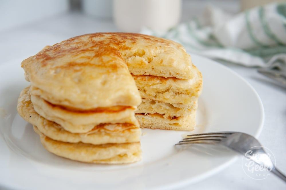 sourdough pancakes with part cut out