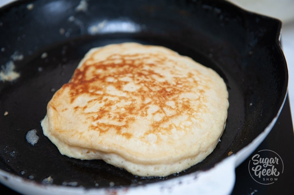 Sourdough pancake in a cast iron pan