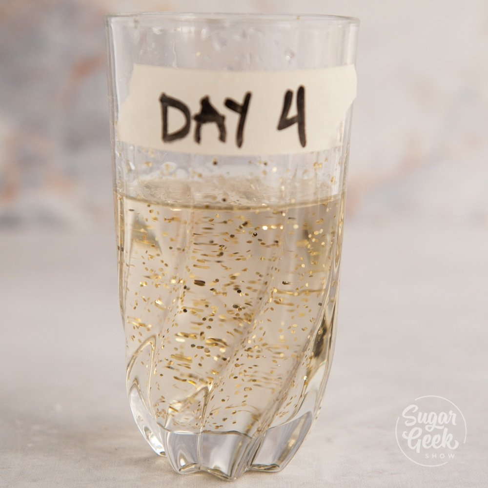 """clear glass with water inside and glitter. Tape on the side that says """"day 4"""""""