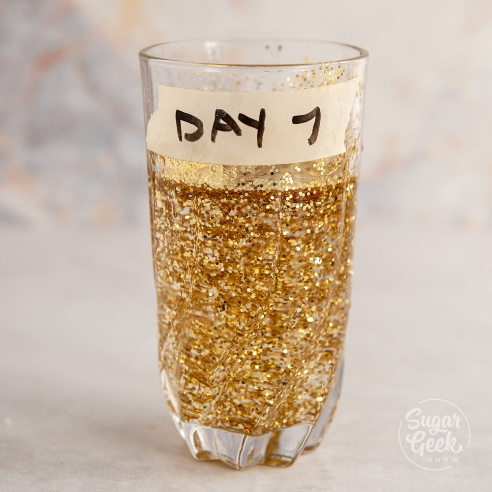"""clear glass with water and lots of glitter inside. Tape on side that says """"day 7"""""""