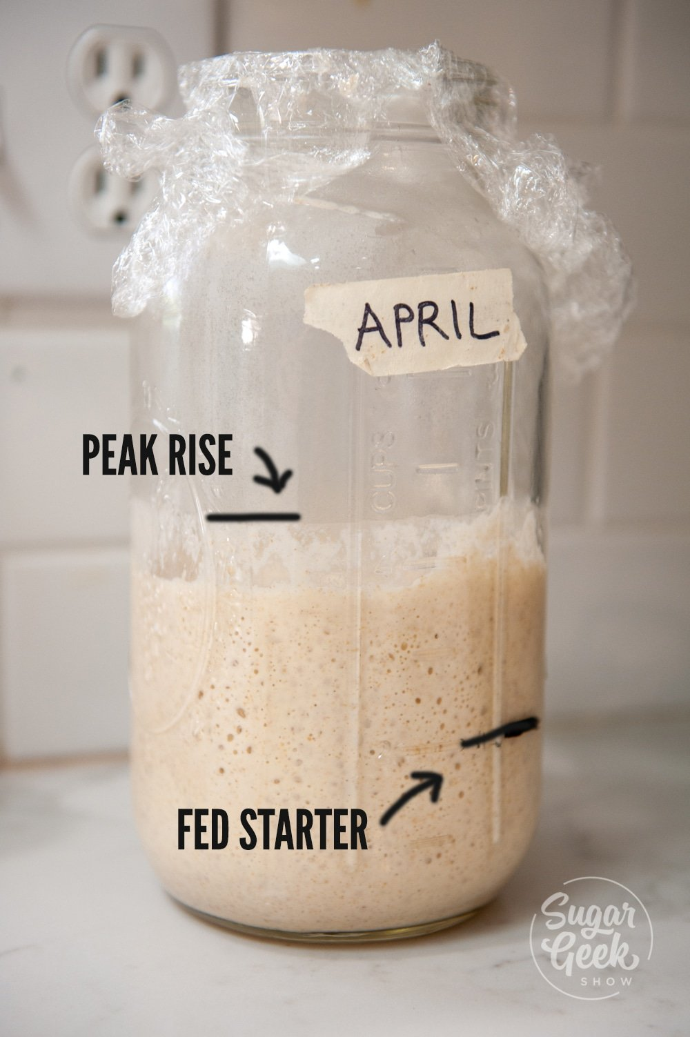jar of sourdough starter with lines drawn on front to indicate peak rise
