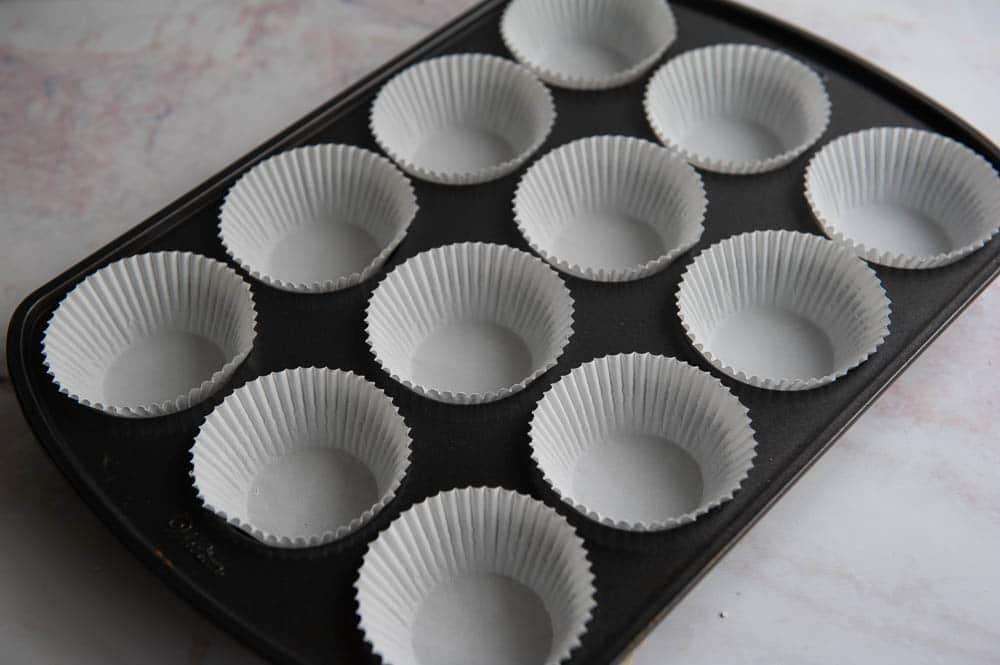 paper cupcake liners in a cupcake pan