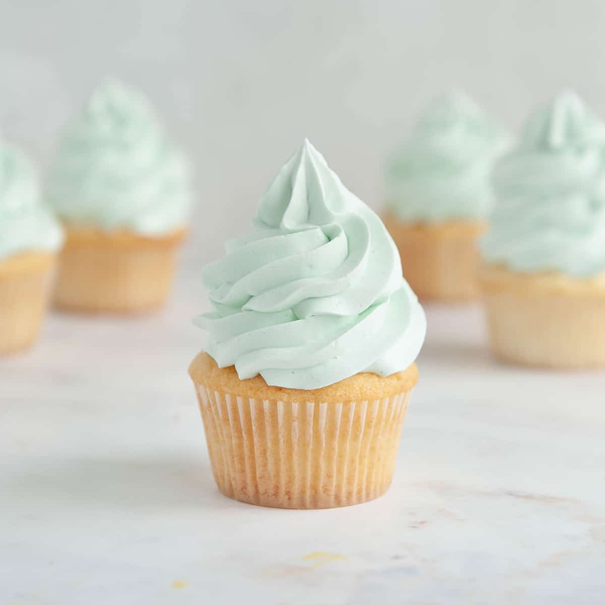 closeup of vanilla cupcake with light blue frosting
