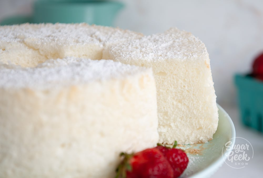 closeup of angel food cake slice