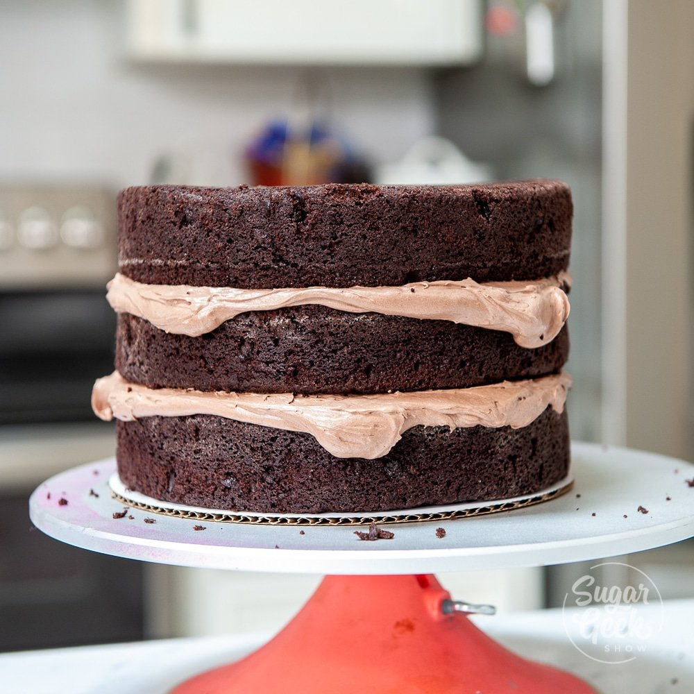 layers of chocolate cake and buttercream