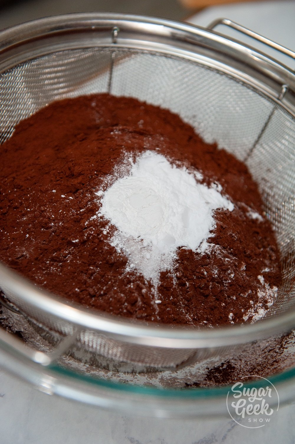 sifting death by chocolate cake ingredients