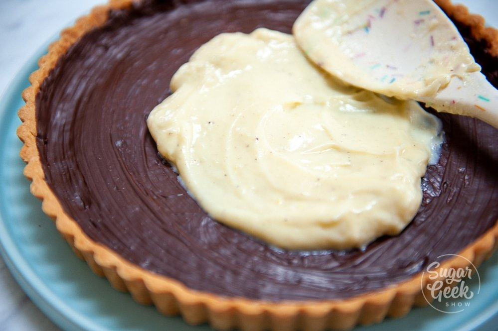 filling a tart shell with pastry cream and white spoon