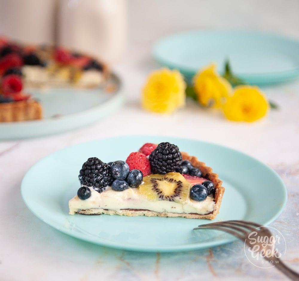 slice of fresh fruit tart