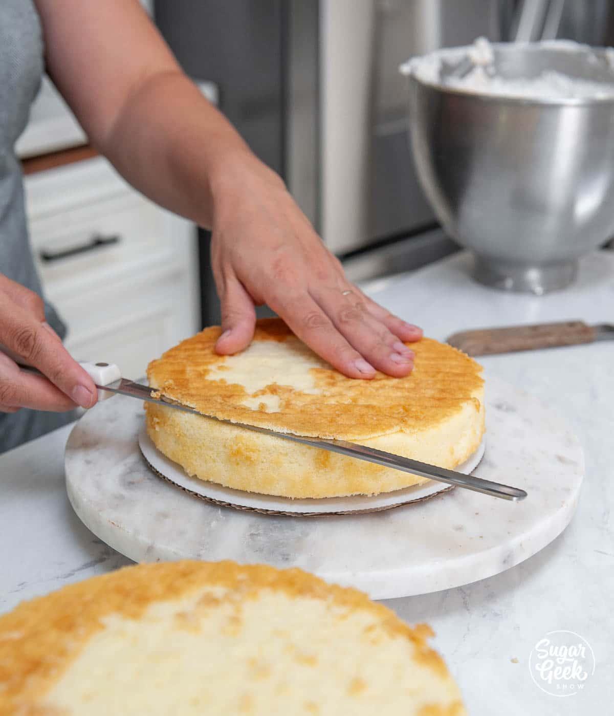 trim the dome off your vanilla cake